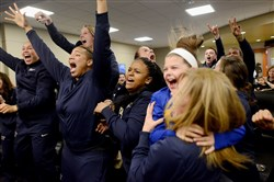 The Pitt women's basketball team reacts Monday at Petersen Events Center after hearing the announcement that it will play Chattanooga in the NCAA tournament this weekend.