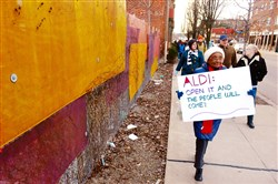 Earlier this month, Alice Pittrell of East Liberty and others marched from the Bottom Dollar site on Penn Avenue to the Aldi store on Baum Boulevard to show their support for bringing a grocer to the Bottom Dollar location.