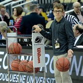 Joe Smeltzer, 17 of Findlay Township, must always be ready as a ballboy at the NCAA tournament at Consol Energy Center.