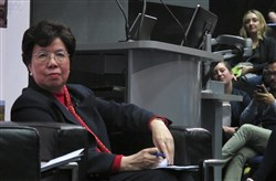 World Health Organization Director-General Dr. Margaret Chan listens during a question-and-answer session at the London School of Hygiene and Tropical Medicine on March 5. In a delay that may have cost lives, WHO resisted calling the Ebola outbreak in West Africa a public health emergency until the summer of 2014, two months after staff raised the possibility and long after a senior manager called for a drastic change in strategy, The Associated Press has learned.