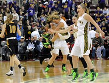 Blackhawk players celebrate after defeating Archbishop Wood, 46-40, in the PIAA Class AAA championship Saturday at Giant Center in Hershey, Pa.