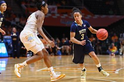 Panthers guard Brianna Kiesel handles the ball during the game against the Tennessee Lady Volunteers in the second round of the women's NCAA Tournament at Thompson-Boling Arena.