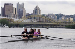 Members of the Mt. Lebanon crew team travel along the. From left are Maddie Ricci, Anya Vendredi, Alexandra Tzaneva and Andrea Wisnuski.