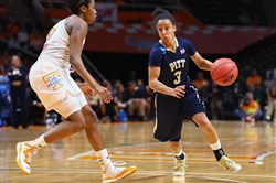 Pitt's Brianna Kiesel handles the ball during the game against the Tennessee Lady Volunteers in the second round of the women's NCAA Tournament at Thompson-Boling Arena in March.