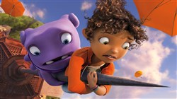 "Oh (voiced by Jim Parsons) and Tip (voiced by Rihanna) in DreamWorks Animation's ""Home."""