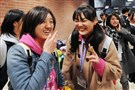 Japanese students arrive at Norwin High School on Monday.