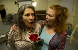 "From left, Lauri Klatscher and Cary Anne Spear rehearse scenes for The Rep's production of ""Endless Lawns."""