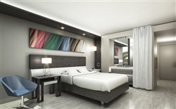 A rendering of a room in a Hyatt Centric.