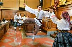 The Duquesne University Tamburitzans perform in city council chambers in March.