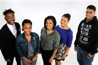Left to right, Langston Brentley, junior at Pittsburgh Obama 6-12; Saroyah Johnson, junior at Penn Hills High School; Margaux Wilson (sister to Liza behind her) junior at Oakland Catholic High School; Liza Wilson sophomore at Oakland Catholic High School; Javar Wilson, junior at Imani Christian Academy.