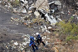 This photo shows search operations at the crash site of an Airbus A320, near Seyne-les-Alpes.