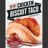"An ad for Taco Bell's new chicken ""biscuit taco."""