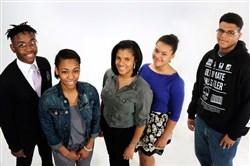 Left to right, Langston Brentley, junior at Pittsburgh Obama 6-12; Saroyah Johnson, junior at Penn Hills High School; Margaux Wilson, junior at Oakland Catholic High School; Liza Wilson (Margaux's sister), sophomore at Oakland Catholic High School; Javar Wilson (no relation), junior at Imani Christian Academy.