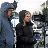 "Director Jessie Nelson, right, on the set of ""Love the Coopers,"" which has been shooting scenes in Pittsburgh."