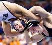 Pitt's Tyler Wilps, left, wrestles with Penn State's Matt Brown in the 174-pound title match at the NCAA wrestling championships Saturday in St. Louis.