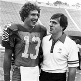 Pitt great Dan Marino and coach Jackie Sherrill, shown here in a 1980 photograph, would have a long day in the Panthers loss to Penn State in 1981.