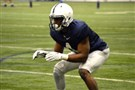 Penn State's Daquan Worley lines up during a Nittany Lions' practice.