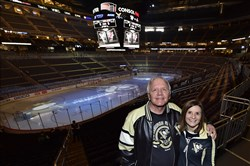Bill Kreiger and daughter Tara Sweeney made the trip from Maryland to take in the Penguins vs. Arizona Coyotes game Saturday at Consol Energy Center.
