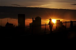 A sunrise over Downtown Pittsburgh in 2012, seen from Mount Washington.