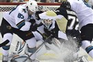 Pittsburgh Penguins Patric Hornqvist is stopped by Sharks goalie Alex Stalock in the second period at the Consol Energy Center .