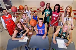 The 2015 Fabulous Five boys and girls: Front row: Vincentian's Brenna Wise, Chartiers Valley's Matty McConnell, Blackhawk's Chassidy Omogrosso; back row: Aliquippa's Stephon McGinnis, North Allegheny's Cole Constantino, Burrell's Sydney Bordonaro, Hempfield's Kason Harrell, Carlynton's Conor Richardson, Ambridge's Daylon Carter and Norwin's Alayna Gribble.