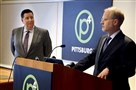 Pittsburgh Mayor Bill Peduto and Heinz Endowments president Grant Oliphant answer questions about a two-day summit to be held in April that will focus on sustainable urban development.
