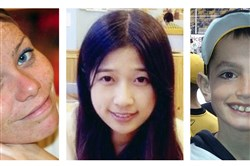 This combination of undated file photos shows, from left, Krystle Campbell, 29, Lu Lingzi, a Boston University graduate student from China, and Martin Richard, 8, all who were killed in the bombings near the finish line of the Boston Marathon on April 15, 2013, in Boston. Prosecutors rested their case Monday, March 30, 2015, against Boston Marathon bomber Dzhokhar Tsarnaev, after jurors in his federal death penalty trial saw gruesome autopsy photos and heard a medical examiner describe the devastating injuries suffered by the three people who died in the 2013 terror attack.