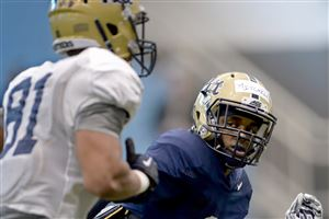 Pitt's Reggie Mitchell works through a drill with Tony Harper during spring practice.