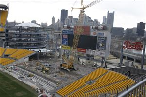 Construction continues on the additional seating at Heinz Field.
