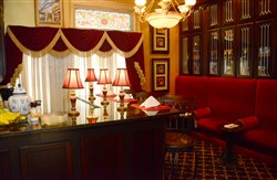 The library bar of the Inn on the Mexican War Streets, the Boggs mansion.