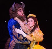 "Ryan Everett Wood as Beast and Jillian Butterfield as Belle in the colorful production of ""Disney's Beauty and the Beast"" at Heinz Hall through April 5."