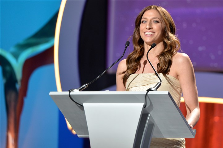 Chelsea Peretti Chelsea Peretti speaks onstage at the 2015 Writers Guild Awards L.A. Ceremony at the Hyatt Regency Century Plaza in March in Los Angeles.