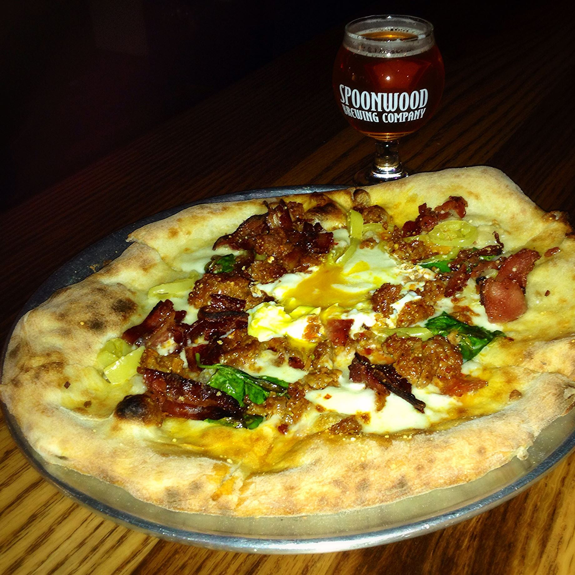 Munch goes to Spoonwood Brewing Company in Bethel Park The Wake & Bake pizza and Killer Diller IPA at Spoonwood Brewing Company.