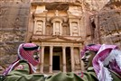 Jordanian royal desert forces stand guard in front of Al Khazneh, Arabic for the Treasury, the most dramatic of many facades carved into the mountains, in the ancient city of Petra, Jordan.