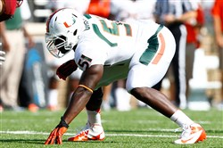 Shayon Green lines up for a play during his time with the Miami Hurricanes in 2012.