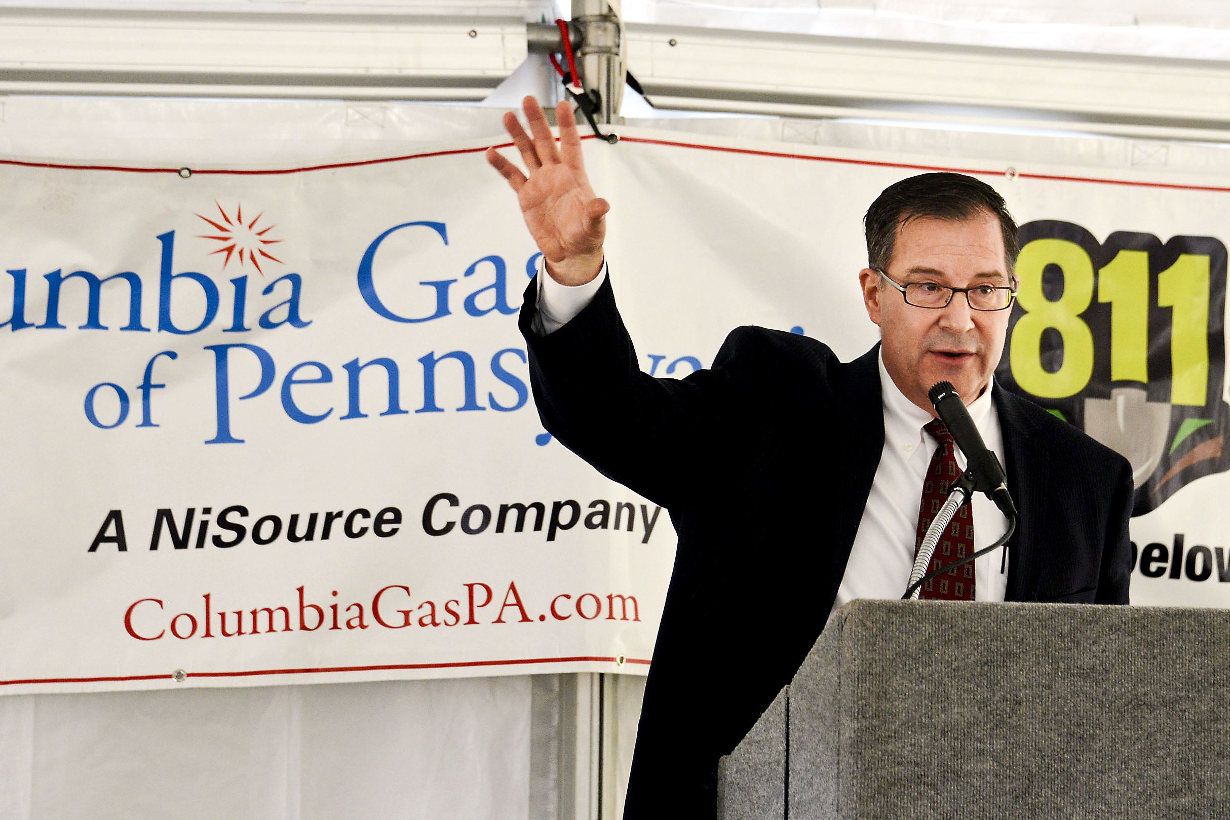 20150402dsColumbia0403PowerSource02 Columbia Gas of Pennsylvania Inc. President Mark Kempic speaks at the ground breaking event.