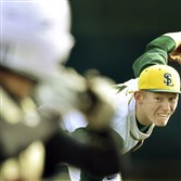 Seton-LaSalle pitcher Liam Sweeney delivers against Brashear this season. Sweeney also plays third base and had a team-high 24 RBIs last season.