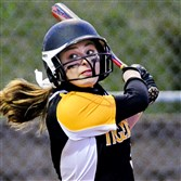 Liz Scherer has been a leader at North Allegheny, both at the plate and behind it as catcher.