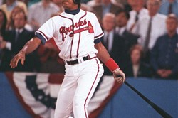 Atlanta Braves' Francisco Cabrera gets the winning hit in the bottom of the ninth inning to down the Pittsburgh Pirates and take the National League pennant in Game 7 of the 1992 NLCS.
