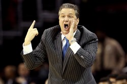 Kentucky coach John Calipari yells instructions to his team during its Elite Eight game against Notre Dame.