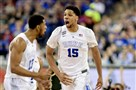 Duke center Jahlil Okafor (15) celebrates after a dunk against the Michigan State Saturday in Indianapolis.