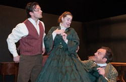 "Michael Brewer (Asa Trenchard), Marsha Mayhak (Florence Trenchard) and Tim Colbert (Lord Dundreary) rehearsing a scene from ""Our American Cousin."""