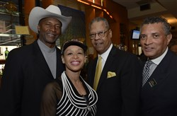From left Mel Blount, Jr., with his wife TiAnda, Jerry Lopes and Tim Stevens.