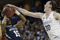 Notre Dame guard Lindsay Allen is stopped by Connecticut forward Breanna Stewart during the first half Tuesday.
