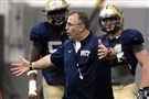 Pitt head coach Pat Narduzzi talks to his squad during spring camp in April.