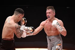 Bill Hutchinson, right, a Montour graduate, lost a Big Knockout Boxing junior welterweight match to Herbert Acevedo April 4 in Las Vegas.
