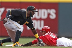 The Reds'  Billy Hamilton steals second base under the tag of the Pirates' Josh Harrison during the fourth inning Thursday in Cincinnati.