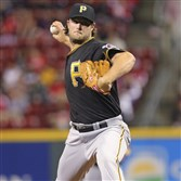 Pirates starting pitcher Gerrit Cole needed 92 pitches to get through five innings against the Reds.