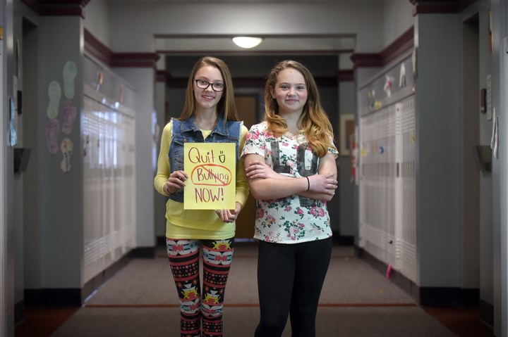 20150409smlocalbullying001 Avalon Elementary School sixth graders Alyssa Pearson, left, and Melanie Reese created a video to show the reality of what teenagers go through with cyber-bullying, the most prevalent form of bullying among students.