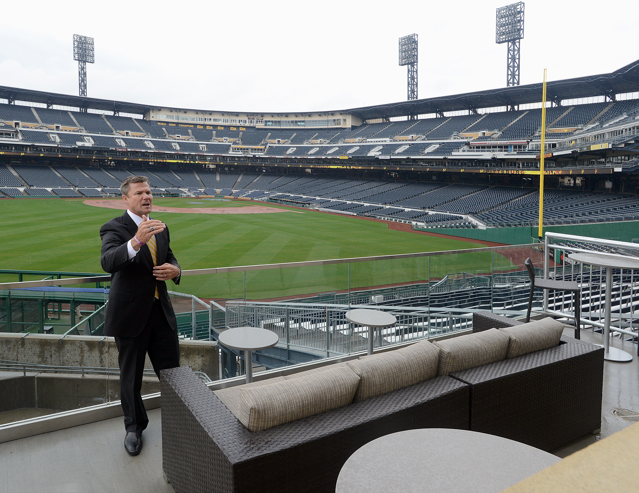 20150409radPNCParkLocal05-4 Pirates President Frank Coonelly shows of The Porch, a new seating area for groups of 25, in center field outside the Hall of Fame Club at PNC Park. It's already been sold out for the season.
